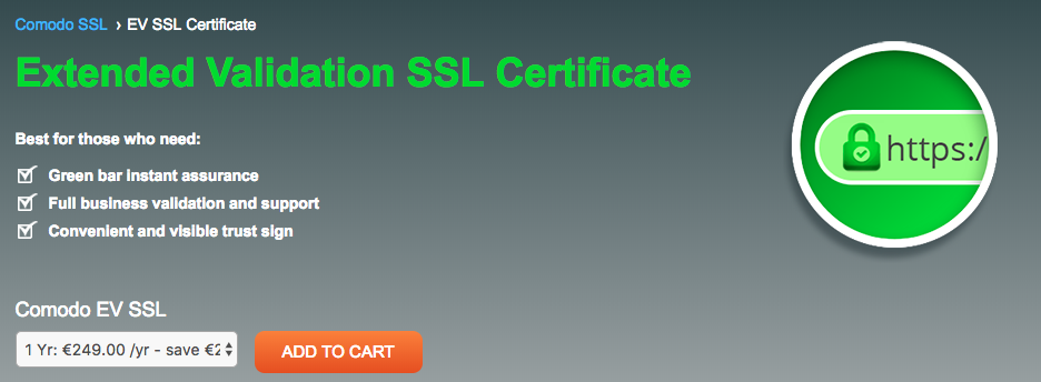 Comodo extended validation SSL certificate