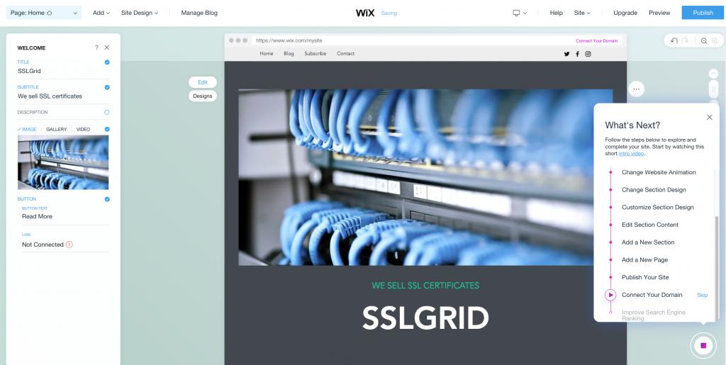 Top 5 website builders - Wix interface