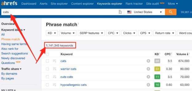 Keywords explorer example