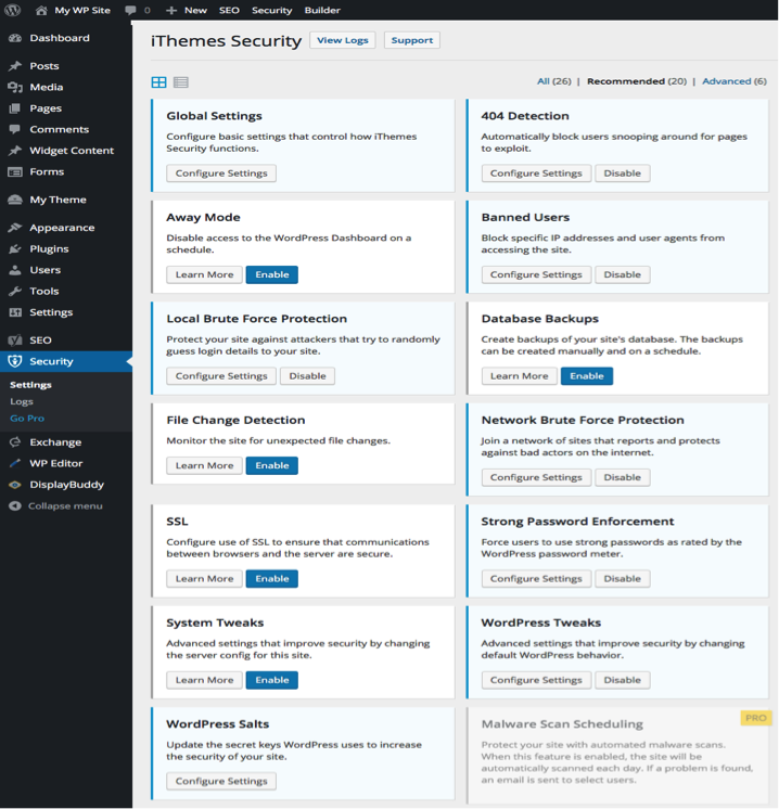 Example of WordPress security plugin